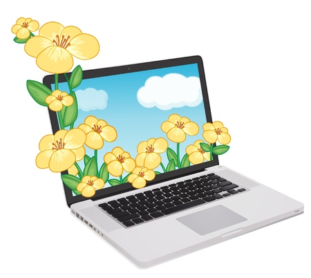 mousepad: illustration of a laptop and flowers on a white background