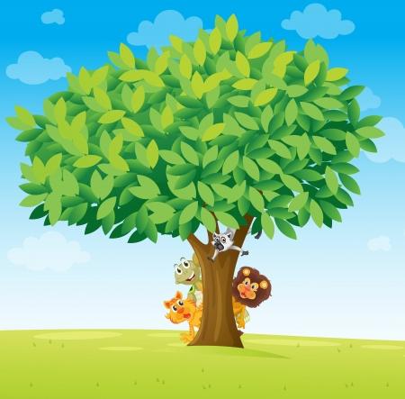 animales del bosque: ilustración de los animales bajo el árbol en blanco