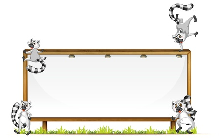 illustration of four squirrels on a board Vector