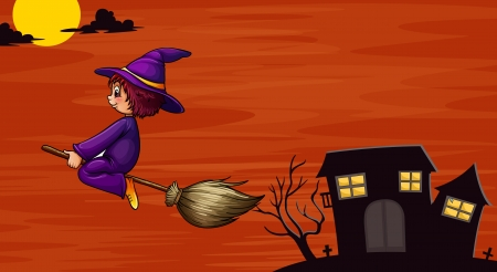 bewitched: illustration of a witch flying in the night Illustration
