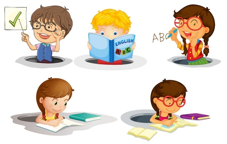 illustration of a kids studying on a white background Vector