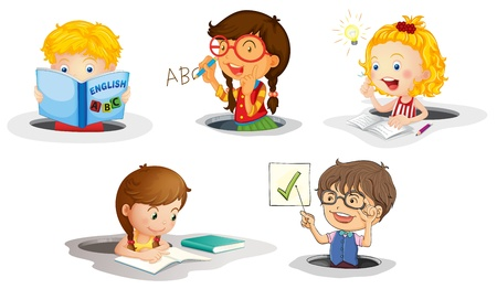 human right: illustration of a kids studying on a white background Illustration