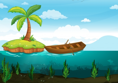 below: illustration of a plam tree and rowboat on a white background Illustration