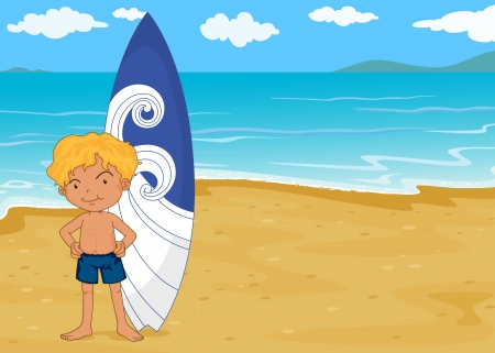 illustration of a boy with surf pad on a sea shore Vector