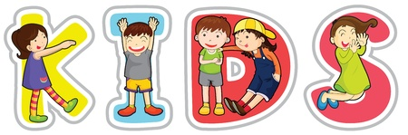 illustration of english word kids on a white background Vector