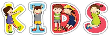 educativo: ilustración de los niños palabras en inglés sobre un fondo blanco Vectores