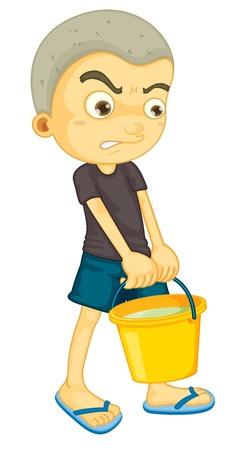 emmer water: illustratie van een jongen met emmer op wit