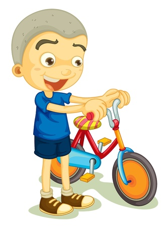 illustration of a boy playing bicycle on a white background Vector
