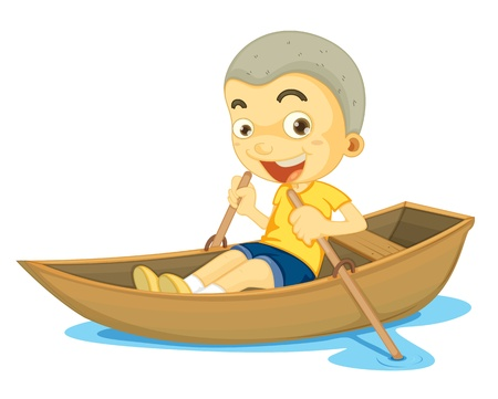 rowing boat: illustration of a boy in a boat on white background