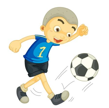 bambini che suonano: illustrazione di un pallone da calcio ragazzo giocando su bianco