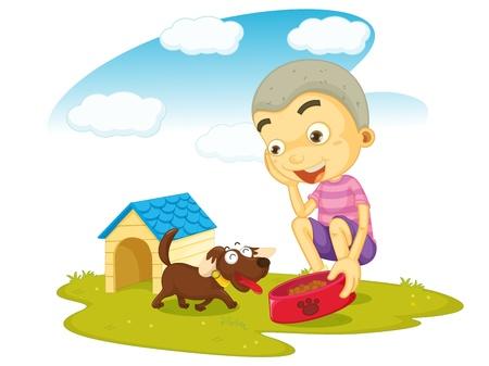 Ilustración de un niño de servir la comida al perro sobre fondo blanco