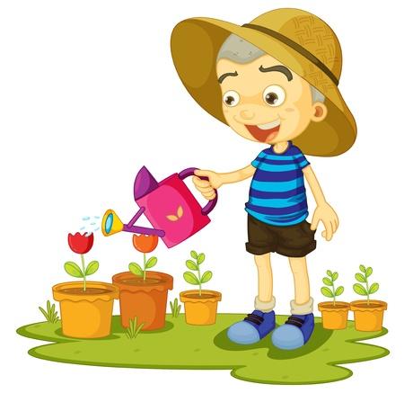 watering: illustratie van een meisje planten water geven op een witte achtergrond