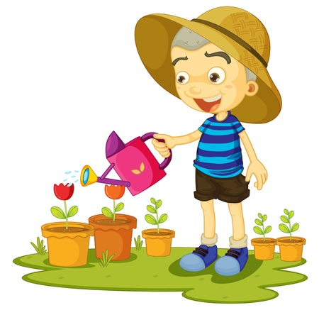 illustration of a girl watering plants on a white background Vector