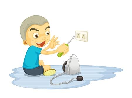 descarga electrica: Ilustración de un niño de la reparación de interruptor eléctrico en blanco Vectores