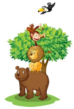 ilustración de los animales bajo el árbol en blanco