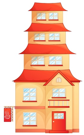 big window: illustration of a house on a white background
