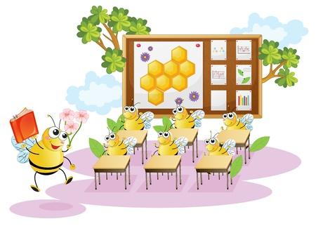 honey comb: illustration of honey bees in a classroom Illustration