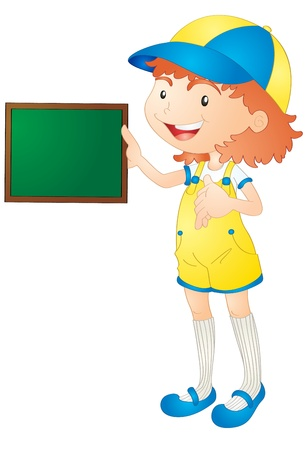 explain: illustration of girl showing board on a white background