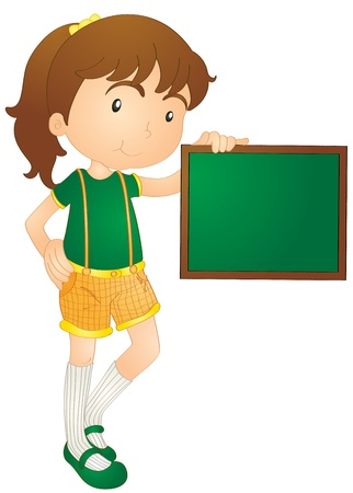 illustration of girl showing board on a white background Vector