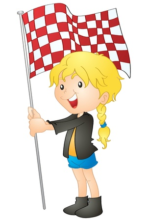 illustration of a girl holding flag on a white background Vector
