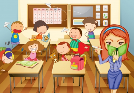 naughty: illustration of a kids studying in classroom