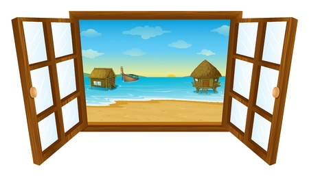 cartoon window: illustration of a window on a white background Illustration