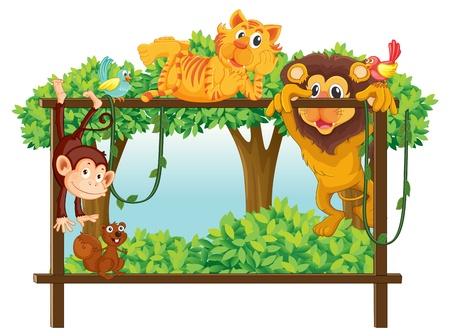 mono caricatura: ilustraci�n de diversos animales sobre un fondo blanco