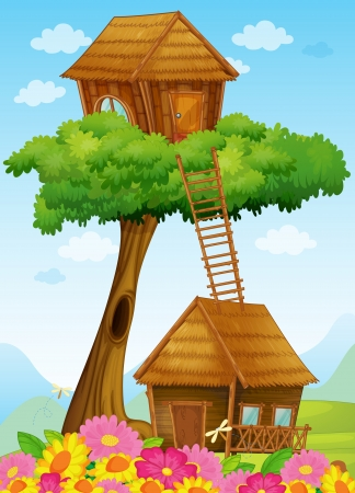 wooden hut: illustration of a tree house on a blue background