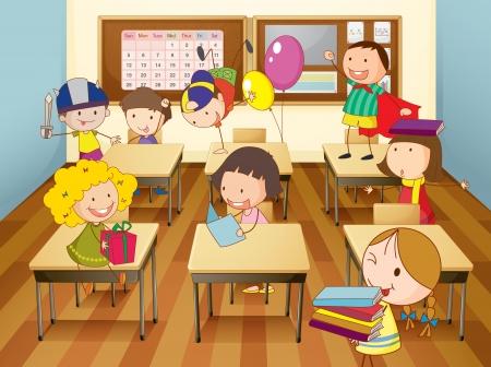 ni�os actuando: ilustraci�n de un estudio de los ni�os en el aula