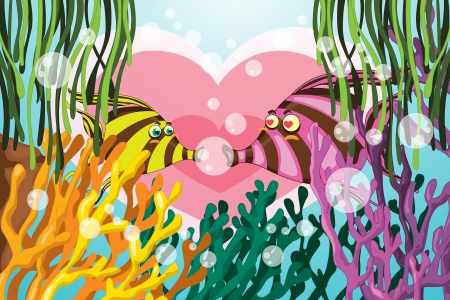 illustration of coral and fishes in deep sea waters Vector