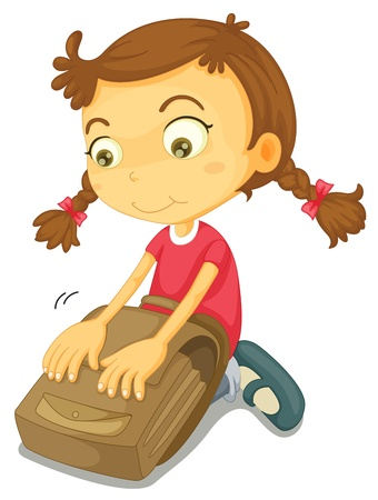 kneeling woman: illustration of a girl with school bag on a white background