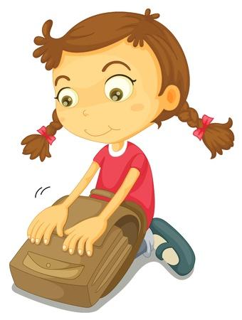 ajoelhado: ilustração de uma menina com saco de escola sobre um fundo branco Ilustração
