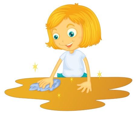 Illustration eines Mädchens Reinigung Boden auf weißem Hintergrund