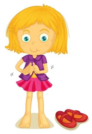 illustration d'une fille change tissus sur un fond blanc Vecteurs