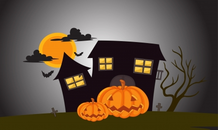 illustration of house in dark night in the dark night Vector
