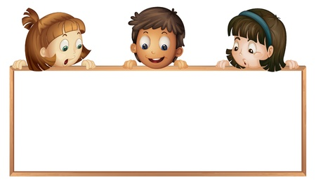 suprise: illustration of a kids showing board on a white background