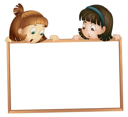 cartoon school girl: illustration of a girls showing board on a white background