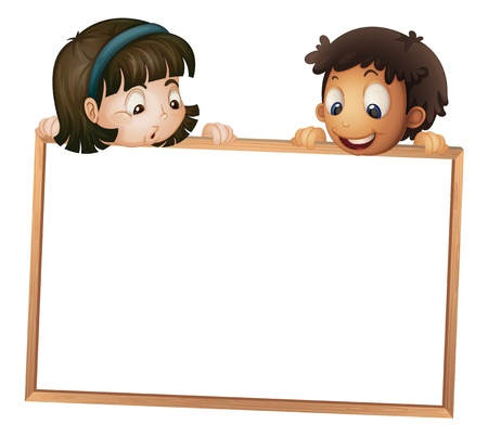 man holding a blank sign: illustration of a kids showing board on a white background