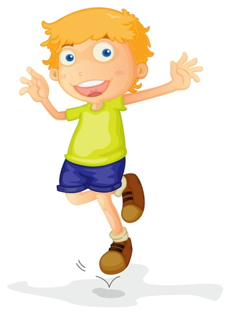 hopping: illustration of a boy on a white background
