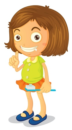 illustration of a girl brushing teeth on a white background Vector