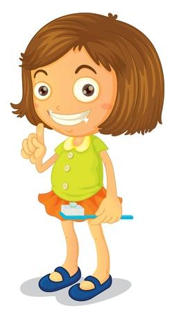 Ilustración de una niña de cepillarse los dientes sobre un fondo blanco