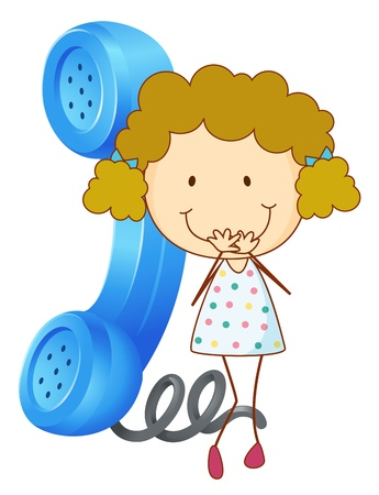 girls talk by phone: illustration of a girl with phone receiver on a white