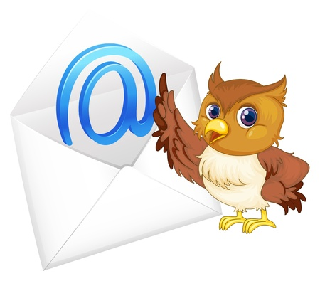 recipient: illustration of a owl with mail envelop on a white background