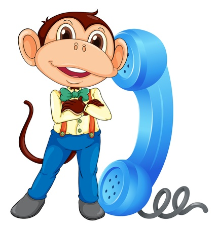 ape: illustration of a monkey with phone receiver on a white