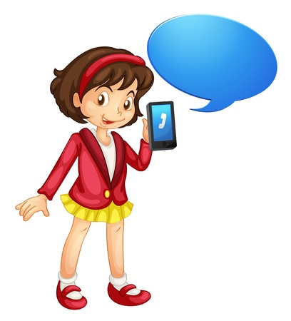 talk show: illustration of a girl with cell phone on a white