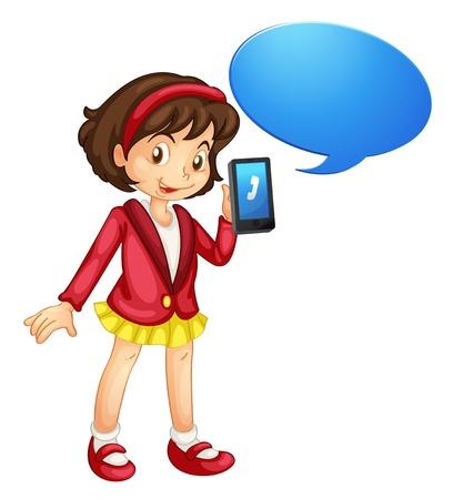 donna con telefono: illustrazione di una ragazza con il cellulare su uno sfondo bianco