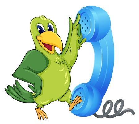 phone conversation: illustration of a bird with phone receiver on a white Illustration