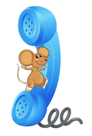illustration of a mouse with phone receiver on a white Illustration