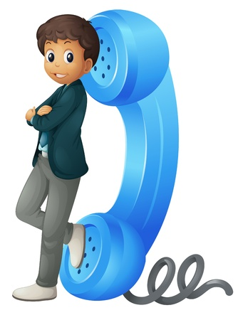 illustration of a boy with phone receiver on a white Vector