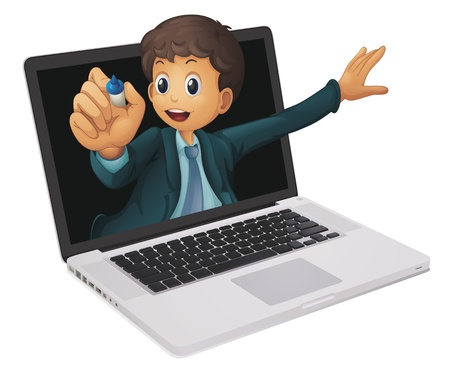 little boy cartoon: illustration of a laptop and man on a white background Illustration